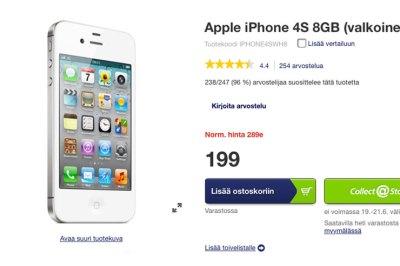 iPhone 4s 199 euroa