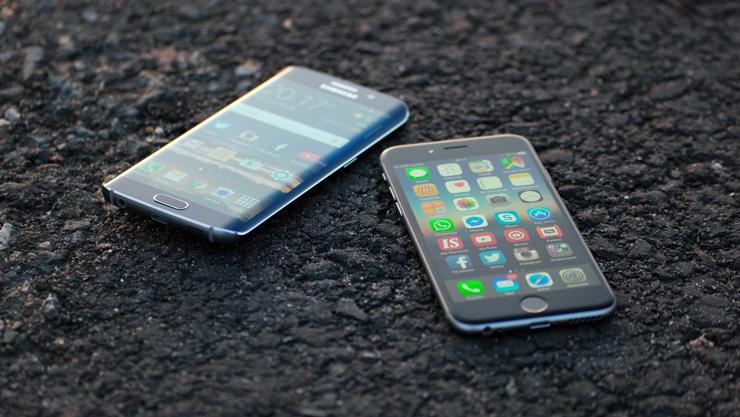 Samsung Galaxy S6 edge ja  Apple iPhone 6