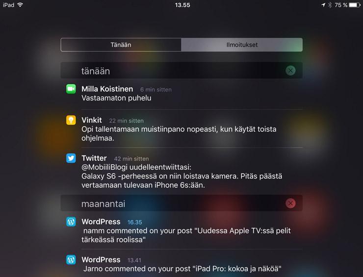 iOS 9, ilmoitukset