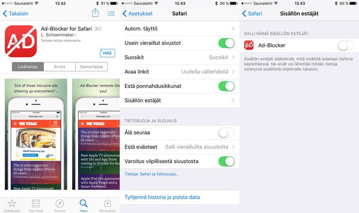 iOS 9, Safari mainokset