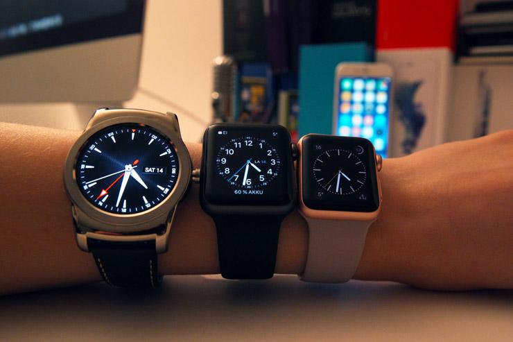 LG Watch Urbane, Apple Watch 42mm, Apple Watch 38mm