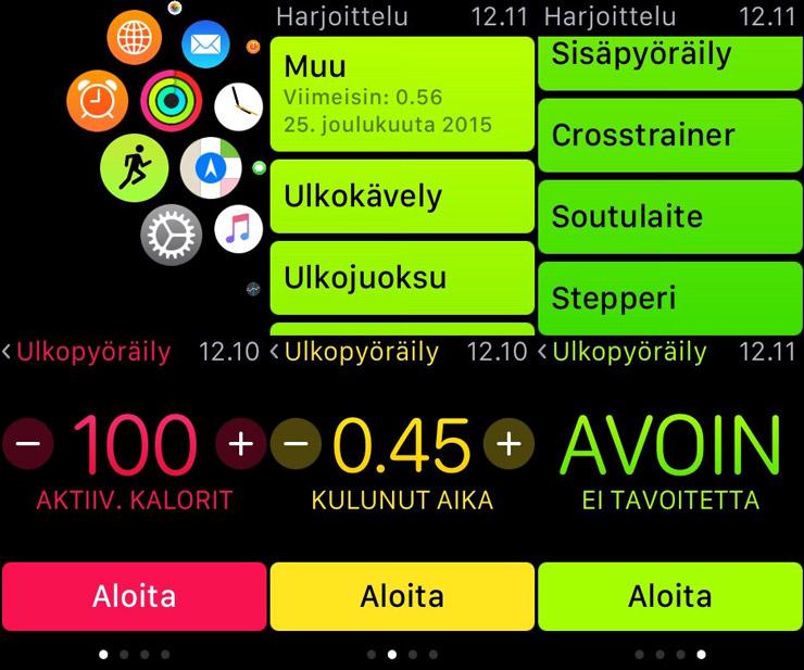 Apple Watch, Harjoittelu
