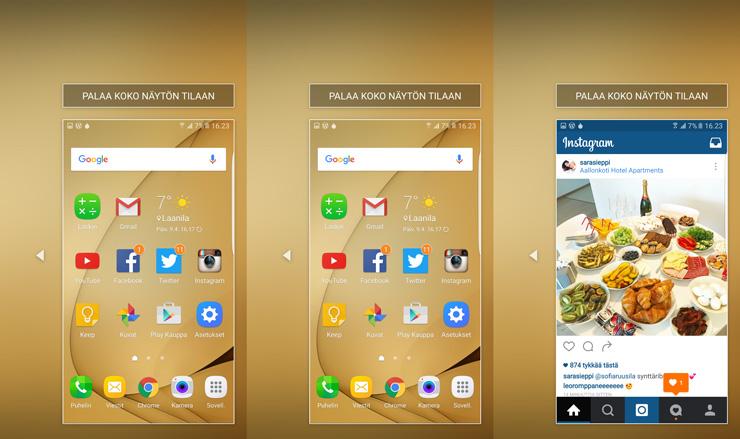 Galaxy S7 yhden käden käytettävyys