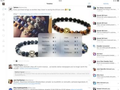 Tweetbot -pikanäppäimet, iPad Pro