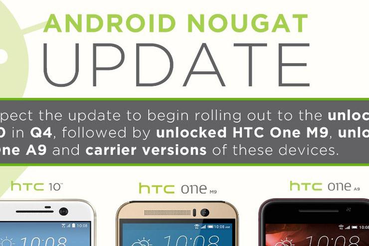 HTC, Android 7.0 Nougat -päivitys