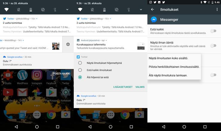 Android 7.0 Nougat ilmoitukset