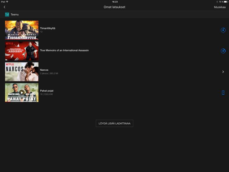 Netflix, ladattavissa, omat lataukset