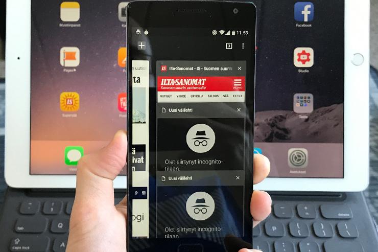 Yksityinen selaaminen Android iOS