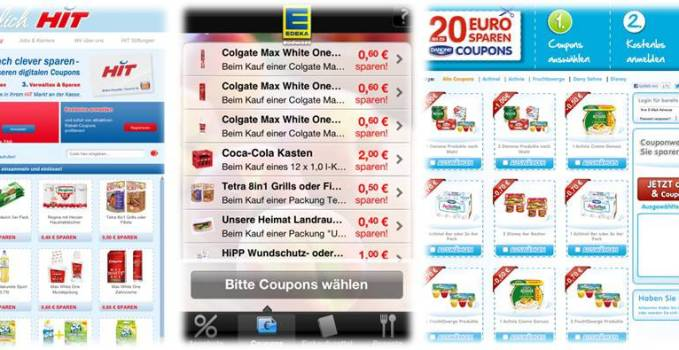 Beispiele aktueller Mobile Couponing Aktionen im LEH 2013