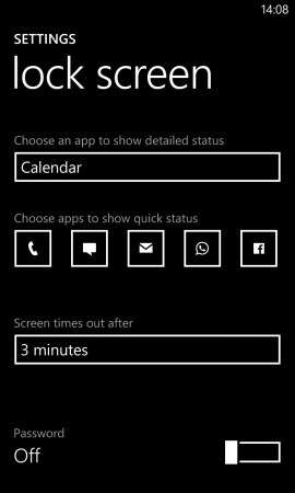 Nokia Lumia 925 lock screen settings 2