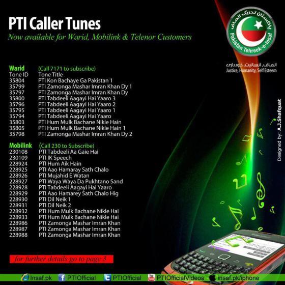 PTI Caller Tunes Mobilink Warid