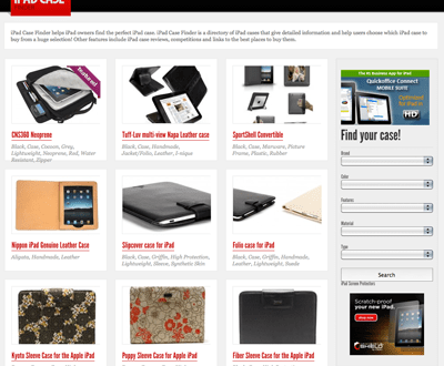 iPad Case Finder website