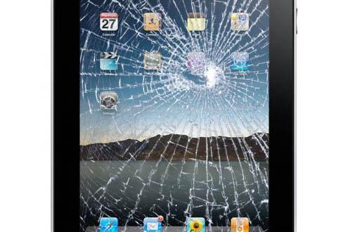 Simulated broken display on 1st gen iPad Photo: Fix-iPhones
