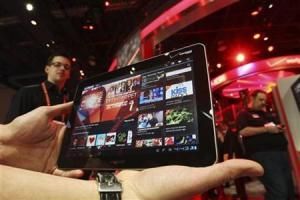 A Samsung tablet runs a Ustream App at the Verizon booth during the Consumer Electronics Show in Las Vegas