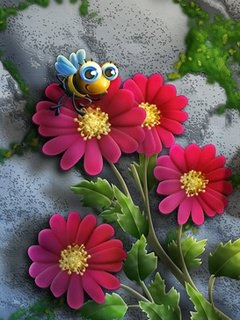 3d Wallpaper Apk Download Download 3d Flowers And Bee Mobile Wallpaper Mobile