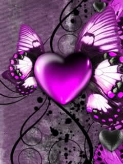Cute Love Hearts Wallpapers Download 3d Purple Heart Mobile Wallpaper Mobile