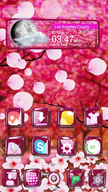 Animated Pink Cherry Blossom Theme Free Android Theme download