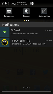 MyPhone A919i Duo Notification Area