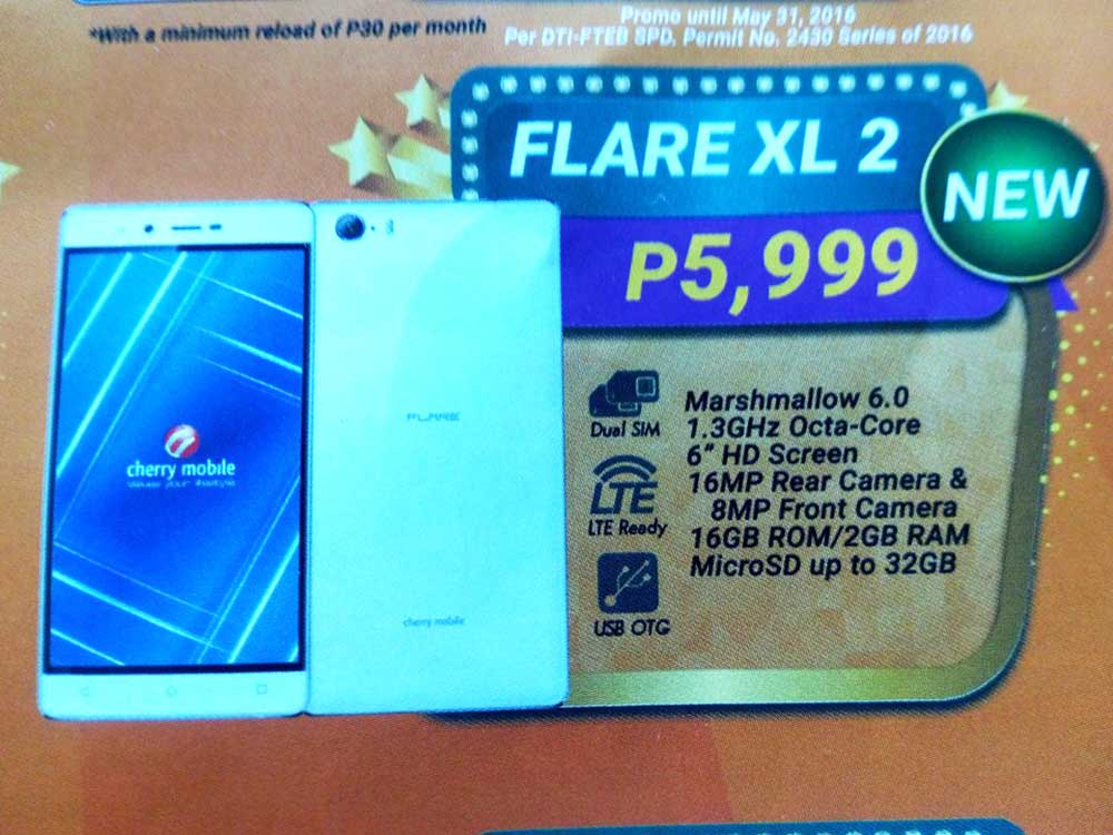 Cherry Mobile Flare XL 2 Features Even Bigger 6 Inch Screen and Octa-core CPU!