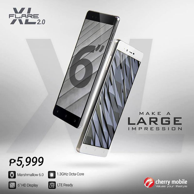 Cherry Mobile Flare XL 2.0 Now Official with 6 Inch Screen and Marshmallow 6.0!