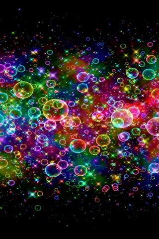 3d Live Wallpaper Themes Download Colorful Neon Bubbles Mobile Wallpaper Mobile