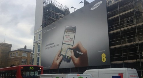 Do two things at once?  Samsung Galaxy Note II advertisement billboard outside Kings Cross Station, London