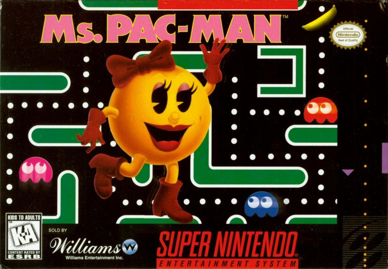Ms Pac-Man (1996) SNES box cover art - MobyGames