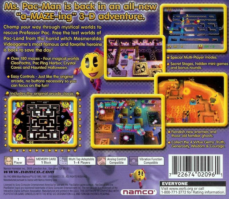 Ms Pac-Man Maze Madness (2000) Dreamcast box cover art - MobyGames