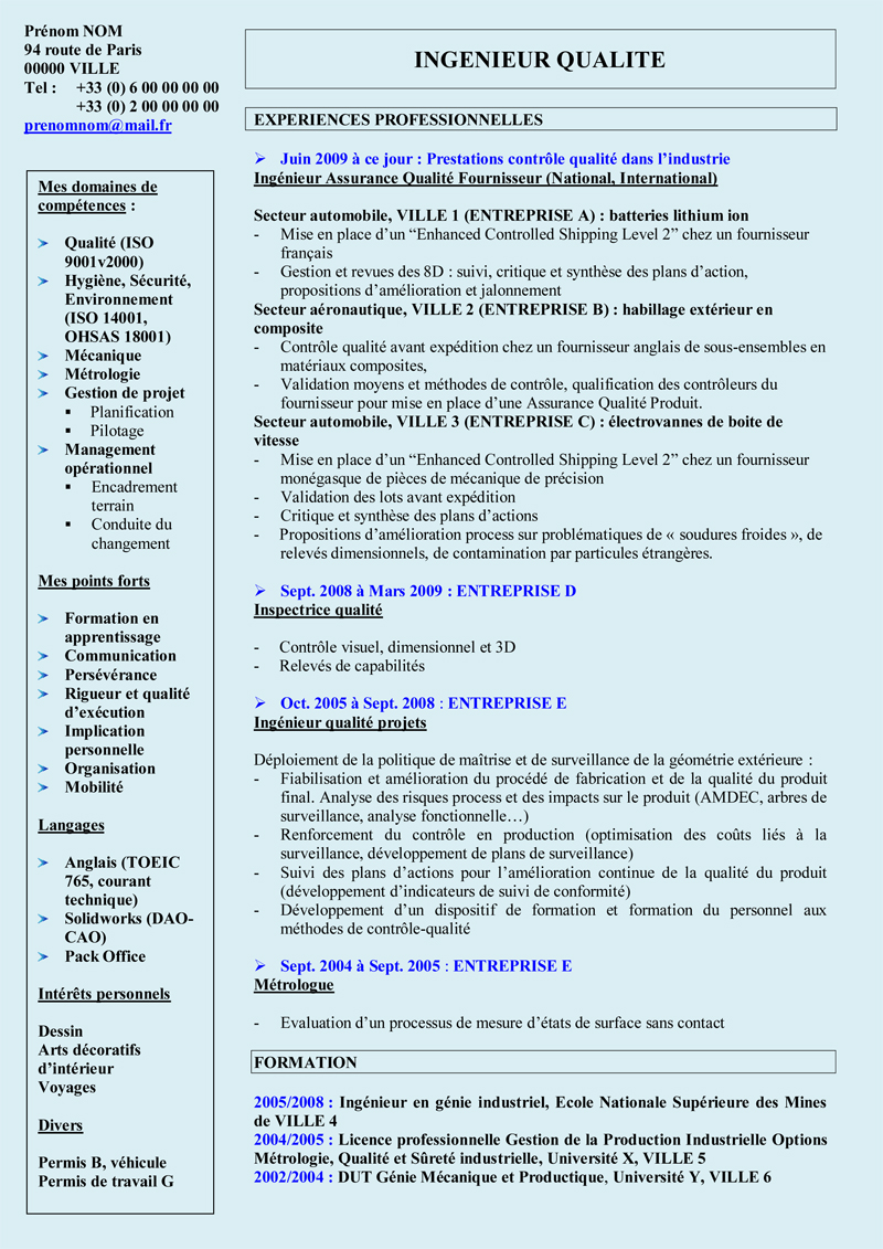 cv ingenieur informatique france