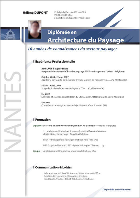 exemple de cv informatique debutant