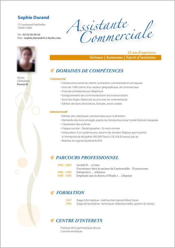 modele cv assistante direction commerciale