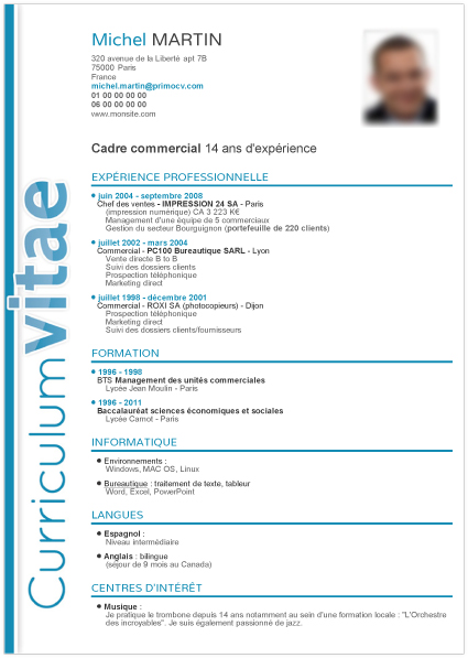 cv original canadien vendeuse