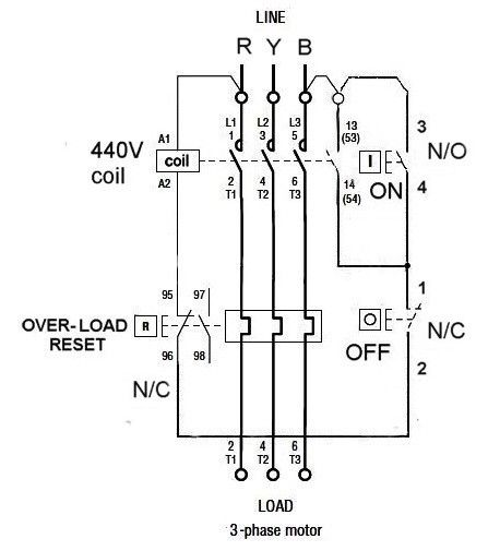 dol starter connection diagram with timer