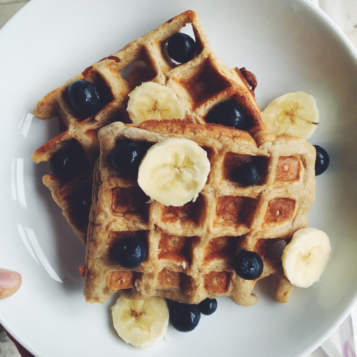 Banana Oat Blender Waffles