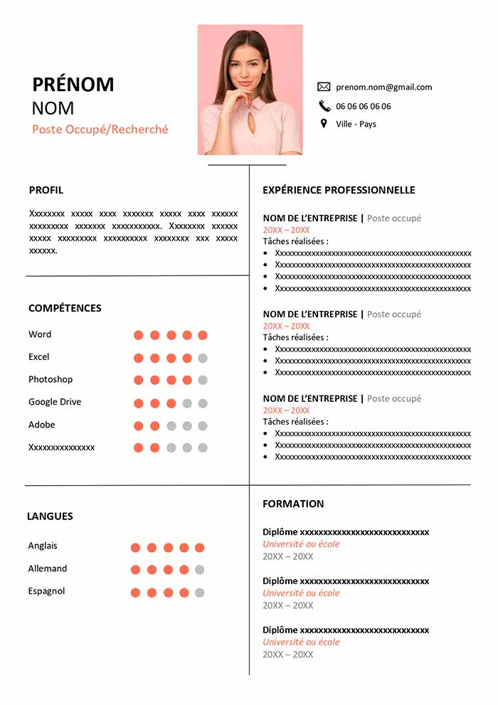 modele de cv design psychologue