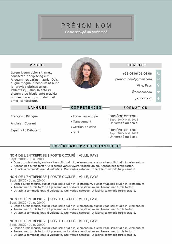 cv exemple word copier coller