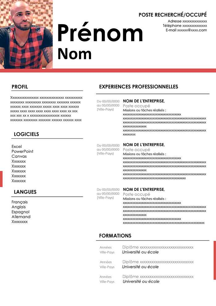 modele cv sans photo gratuit open office