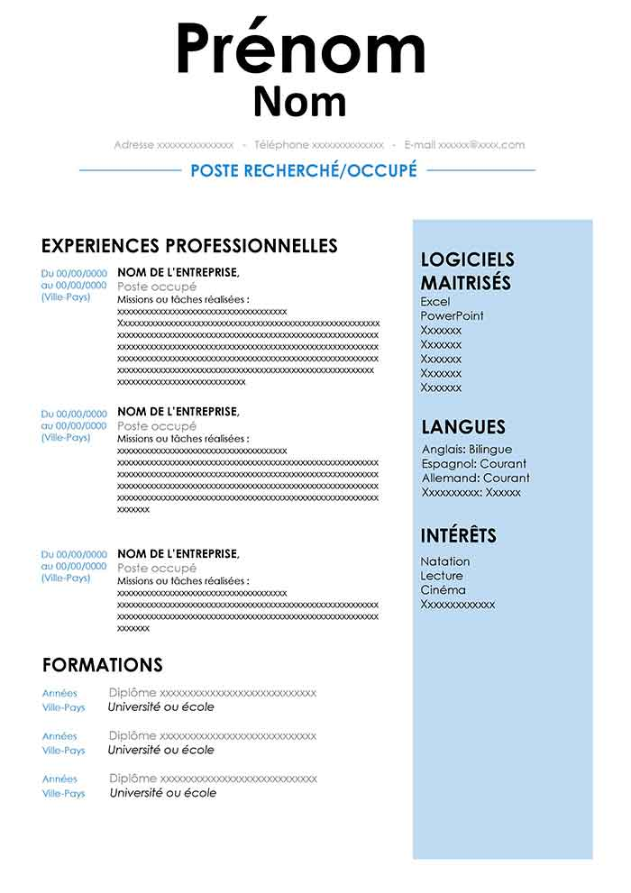 modele cv open office francais