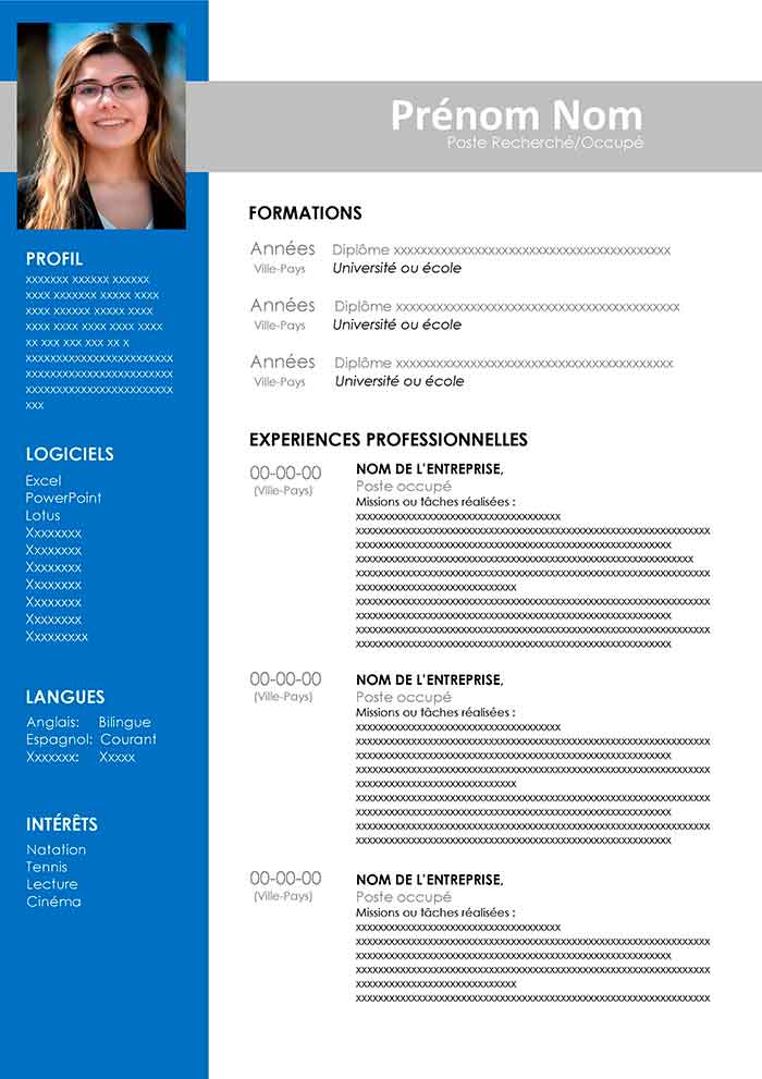 modele cv modifiable word gratuit