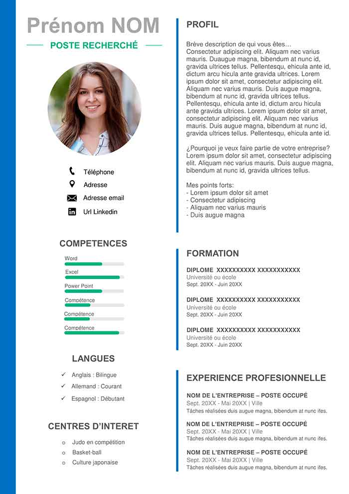 template de cv word gratuit