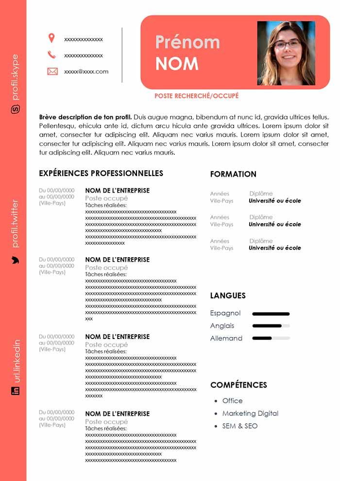 modele cv marketing digital