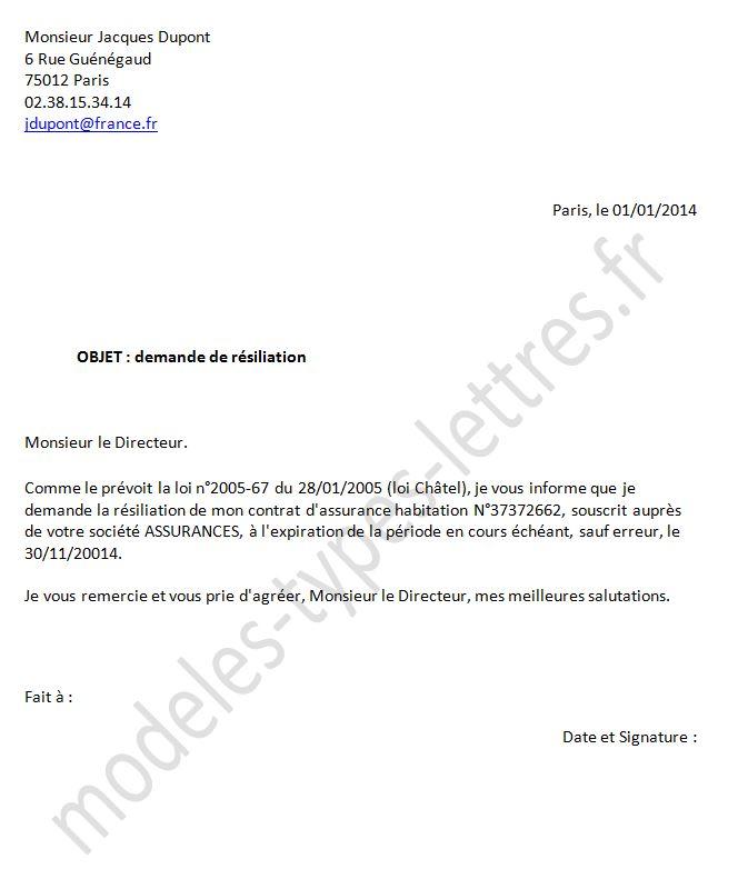 avis resiliation contrat assurance habitation lettre lettre type