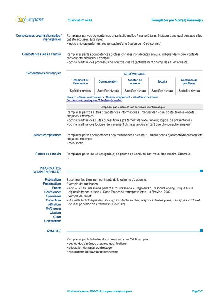 europass mobilite cv