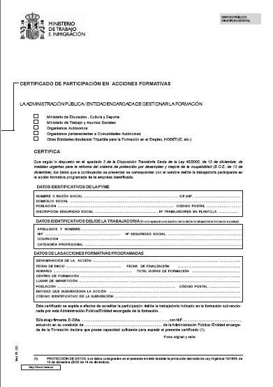 Modelos Certificado de participación en acciones formativas - modelos de certificados