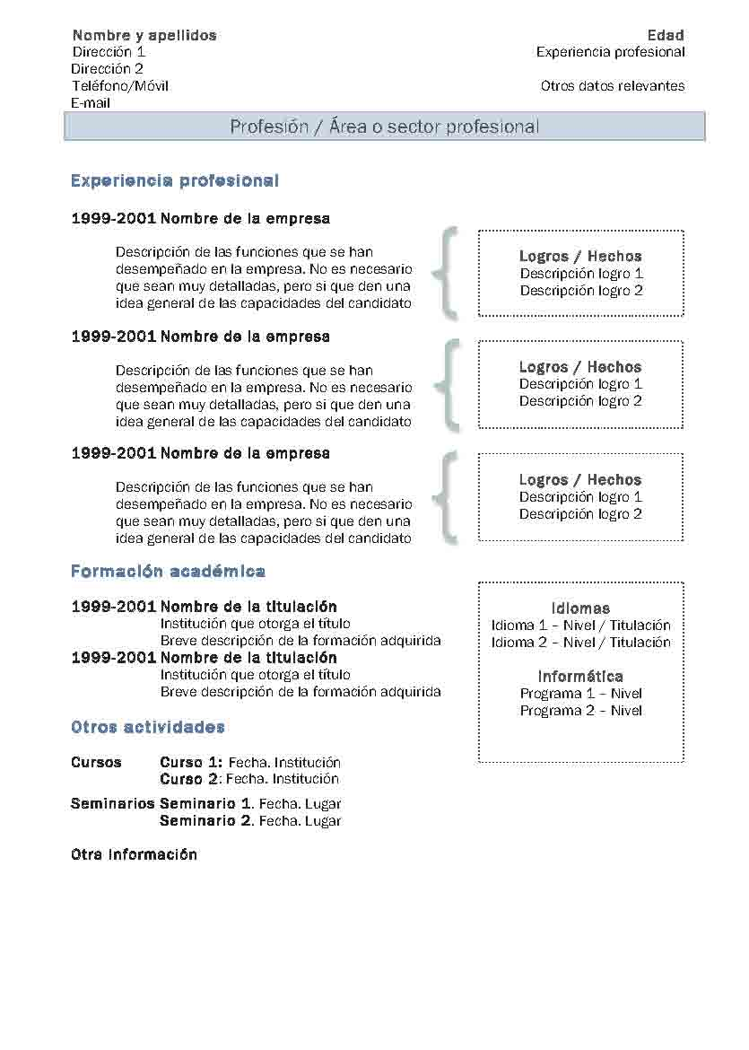 exemple de cv chronologique