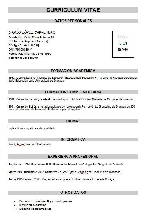 Ejemplo currículum básico  Modelo Curriculum