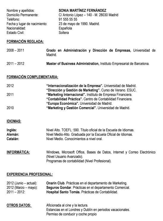 Modelo curriculum basico  Modelo Curriculum
