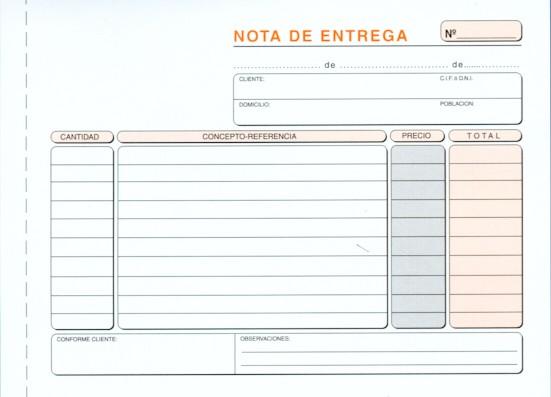 Modelos de notas de entrega Modelo Factura