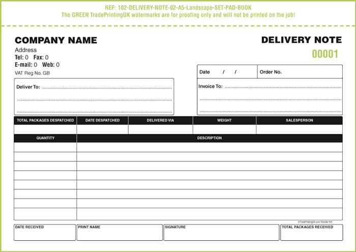 Las notas de entrega en inglés Modelo Factura