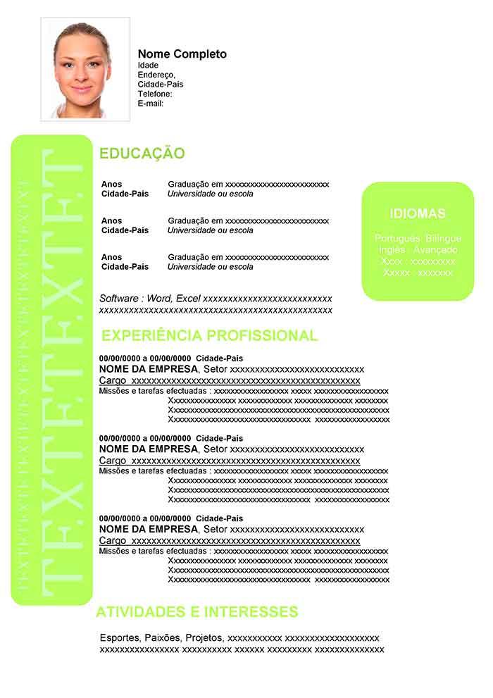 Modelo de Curriculum Vitae em Português Currículo Pronto